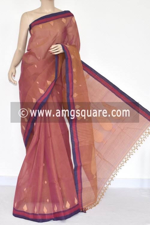 Rust Handwoven Bengal Tant Cotton Saree (Without Blouse) 17357