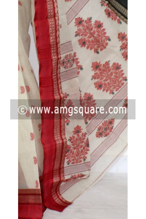 Off White Handwoven Bengal Tant Cotton Saree (Without Blouse) Ganga Yamuna Border 17231