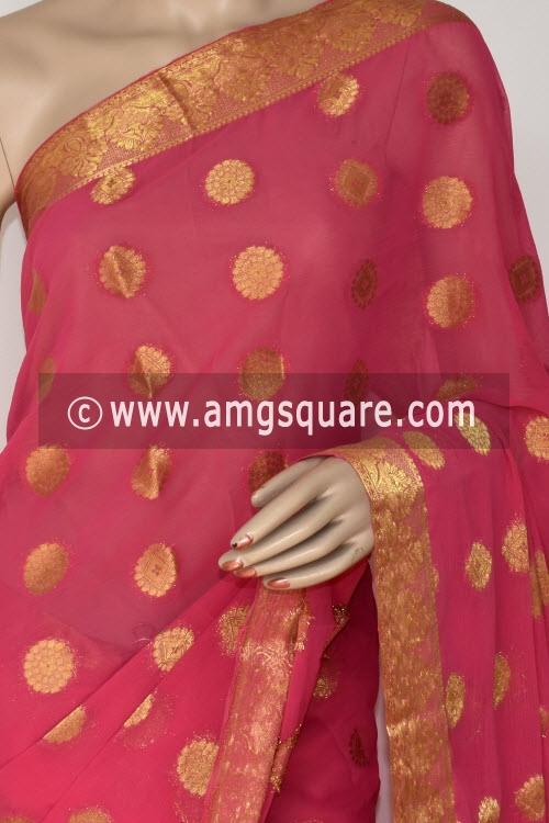 Pink Handloom Semi-Chiffon Saree (with Blouse) Allover Zari Border and Booti 16189