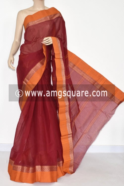 Maroon Handwoven Bengal Tant Cotton Saree (Without Blouse) 14284
