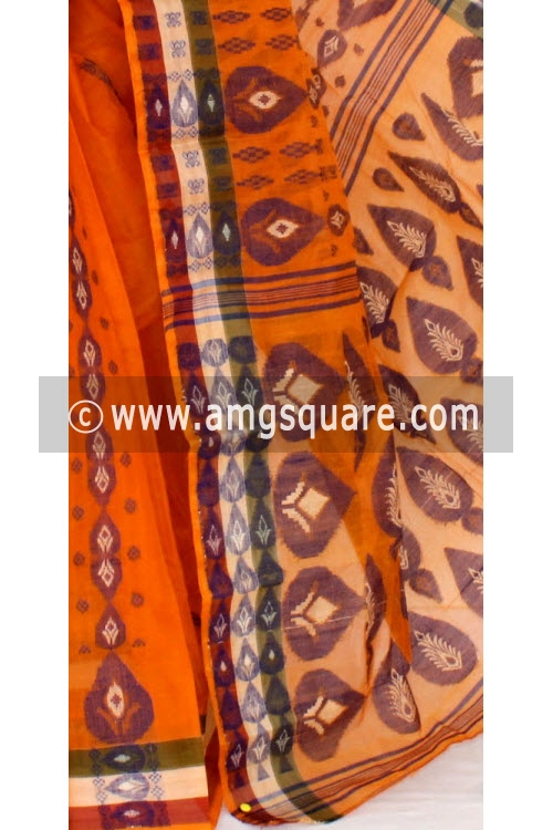 Orange Handwoven Bengal Tant Cotton Saree (Without Blouse) 14173