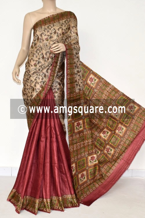 Fawn Maroon Handloom Ghicha Pure Silk Half-Half Saree (With Blouse) 17282