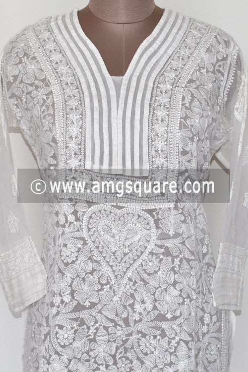 White Hand Embroidered Lucknowi Chikankari Long Kurti (Georgette) Bust-44 inch 17892