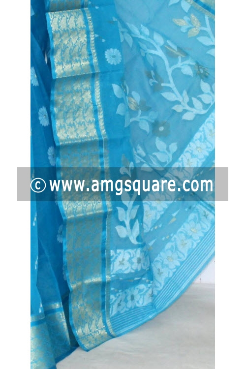 Pherozi Blue Handwoven Bengal Tant Cotton Saree (Without Blouse) 14010