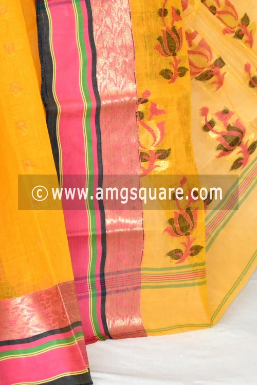 Golden Yellow Handwoven Bengal Tant Cotton Saree (Without Blouse) Embroidered Pallu 17099