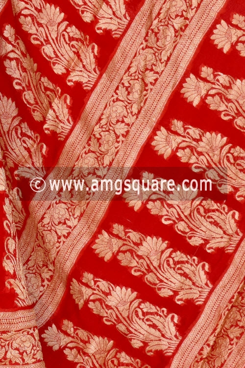 Red Banarasi Handloom Khaddi Georgette Saree (With Blouse) Allover Resham Weaving 16168