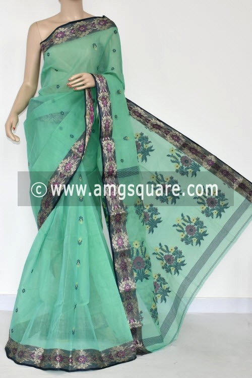 Pista Green Handwoven Bengal Tant Cotton Saree (Without Blouse) 17234