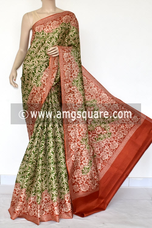 Red Green Tusser Art Silk Printed Saree (With Blouse) 13453