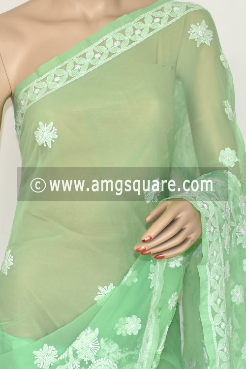 Pista Green Hand Embroidered Lucknowi Chikankari Saree (With Blouse - Georgette) Rich Pallu14654
