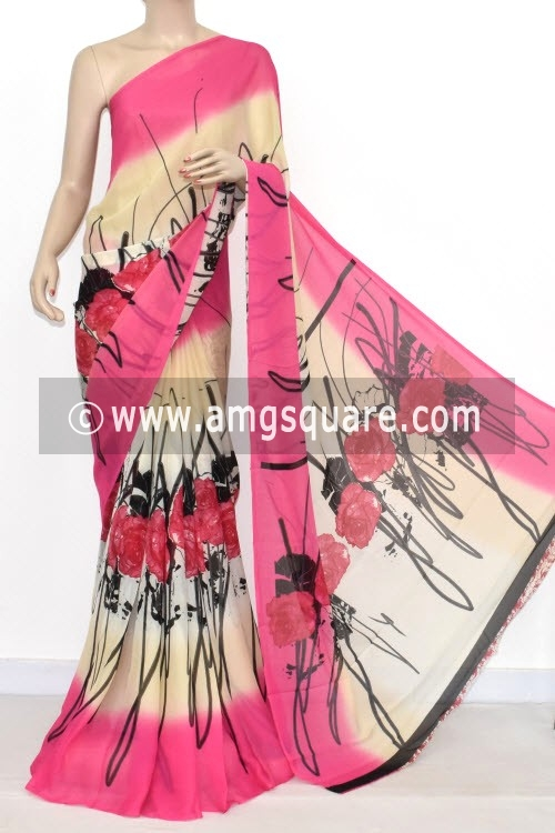 Pink Printed Wrinkle Georgette Saree (With Blouse) 13435