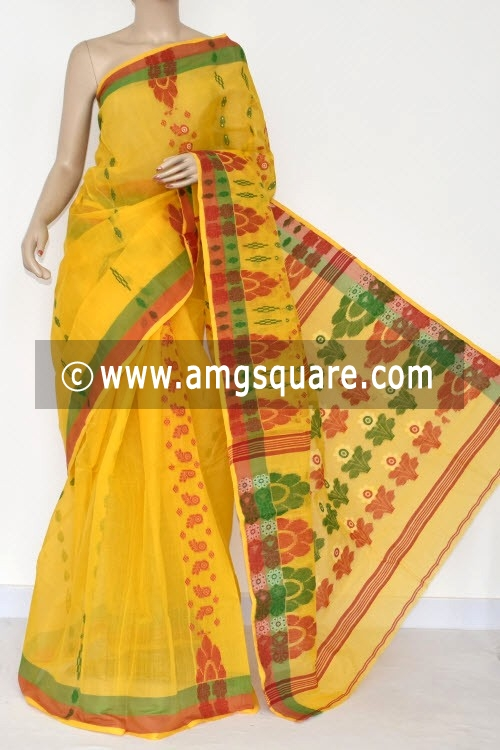 Yellow Handwoven Bengali Tant Cotton Saree (Without Blouse) 14063