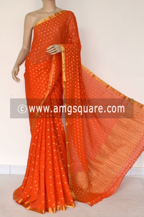 Orange Handloom Semi-Chiffon Saree (with Blouse) Allover Zari Border and Booti 16204