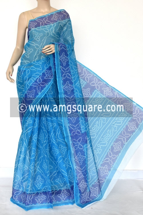 Pherozi Blue Premium JP Kota Doria Chunri Print Cotton Saree (without Blouse) 15424