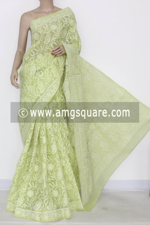 Pista Green Allover Hand Embroidered Lucknowi Chikankari Saree (With Blouse - Cotton) 14538