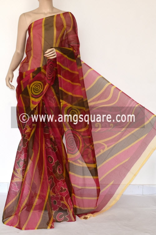Rani Pink Magenta Premium JP Munga Kota Printed Cotton Saree (without Blouse) 15378