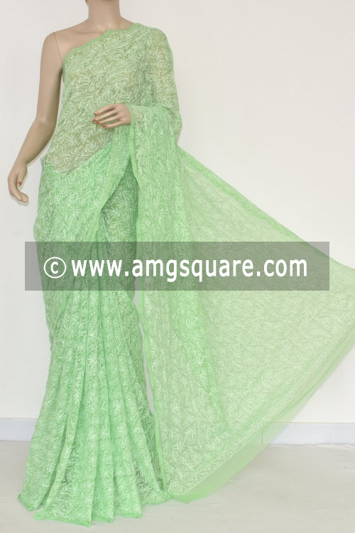 Pista Green Allover Tepchi Work Hand Embroidered Lucknowi Chikankari Saree (With Blouse - Georgette) 14833