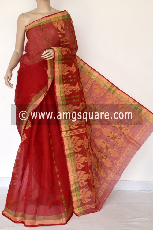 Red Handwoven Bengal Tant Cotton Saree (Without Blouse) 14068