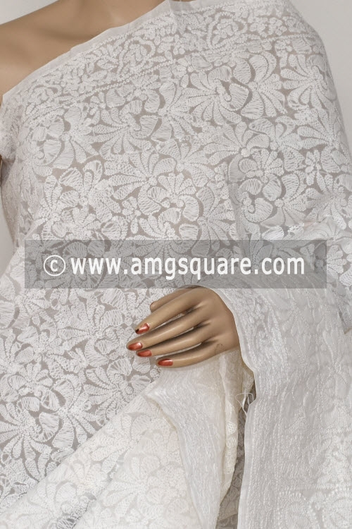 White Allover Hand Embroidered Lucknowi Chikankari Saree (With Blouse - Cotton) 14596
