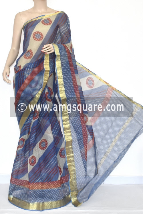 Blue Laheria JP Kota Doria Chunri Print Cotton Saree (without Blouse) Zari Border 15352