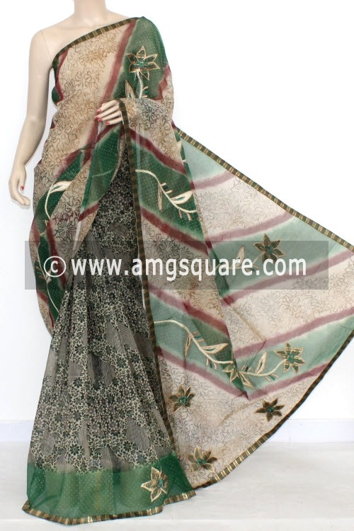 Green Designer Supernet Embroidered Saree (With Blouse) 16154