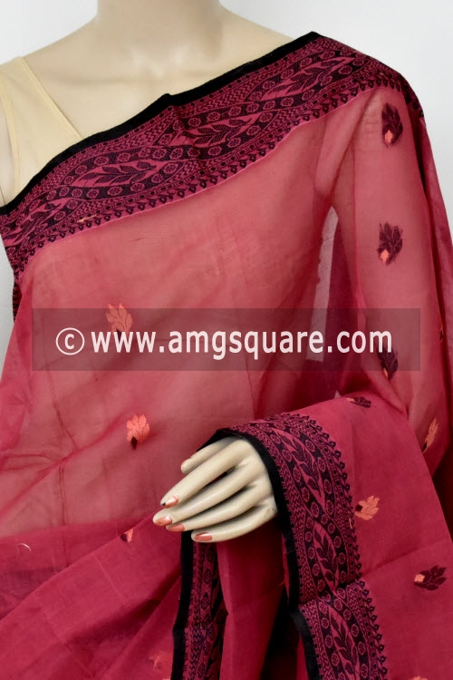 Light Maroon Handwoven Bengal Tant Cotton Saree (Without Blouse) 17424