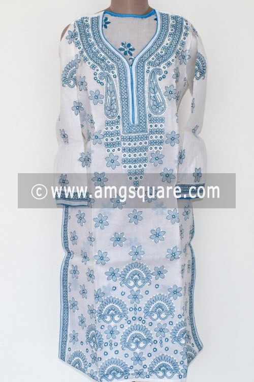 White Pherozi Hand Embroidered Lucknowi Chikankari Long Kurti (Cotton) Bust-38 inch 17885