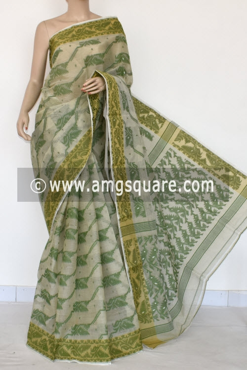 Off White Green Handwoven Bengal Jamdani Tant Cotton Saree (Without Blouse) 13995
