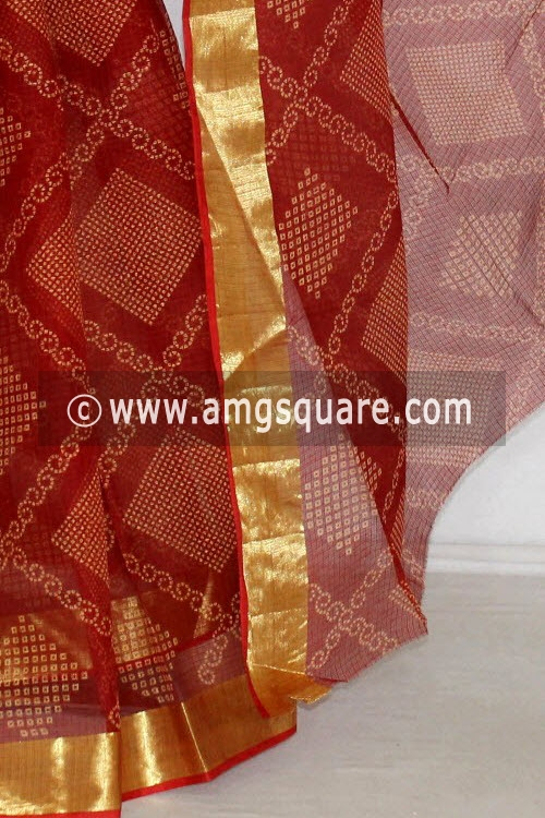 Maroon JP Kota Doria Chunri Printed Cotton Saree (without Blouse) Zari Border 13592