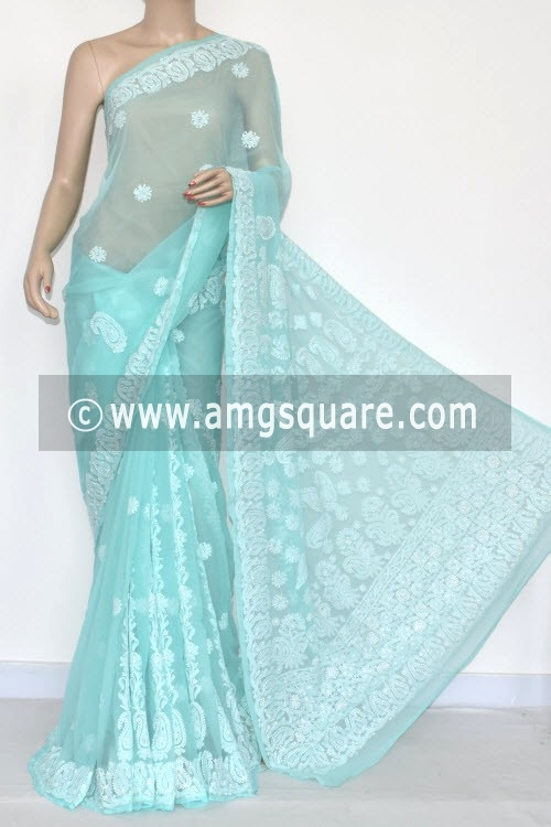 Sky Blue Designer Hand Embroidered Lucknowi Chikankari Saree (With Blouse - Georgette) 14383
