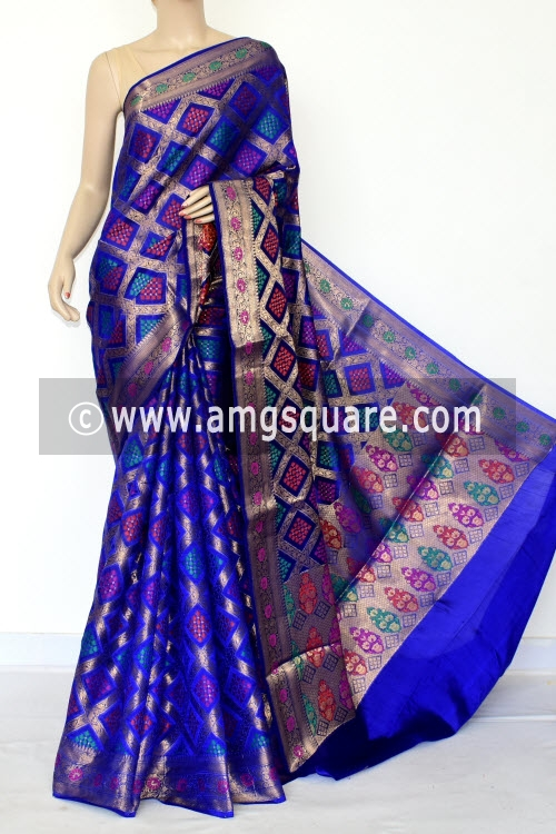 Royal Blue Handloom Katan Pure Silk Saree (Ghatchola - With Blouse) Allover Zari Weaving 16266