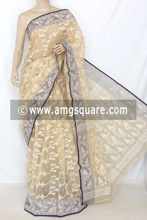 Beige Handwoven Bengal Tant Kora Cotton Saree (Without Blouse) 13895