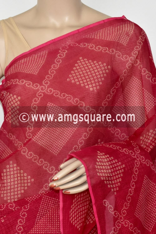 Rani Pink Chunri Print Premium JP Kota Doria Cotton Saree (without Blouse) 13543