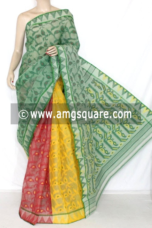 3D Designer Handwoven Bengal Tant Cotton Saree (Without Blouse) 13998