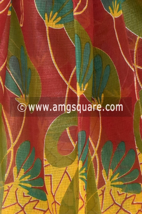 Red Yellow Premium JP Kota Doria Printed Cotton Saree (without Blouse) 15340