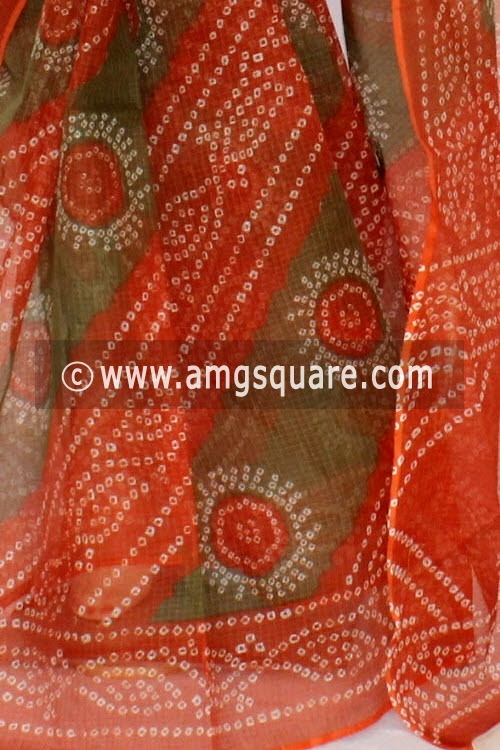Rust Menhdi Green JP Kota Doria Chunri Printed Cotton Saree (without Blouse)13563