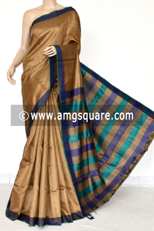 Chocolatee Handloom Khadi Pure Silk Saree (With Blouse) 12985
