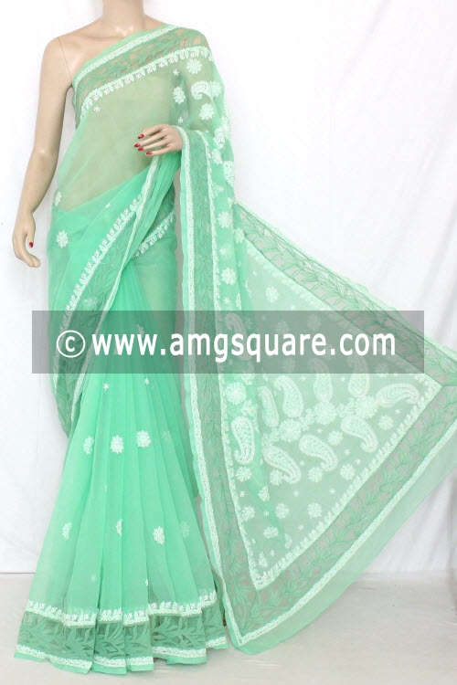 Pista Green Hand Embroidered Lucknowi Chikankari Saree (With Blouse - Georgette) 13744