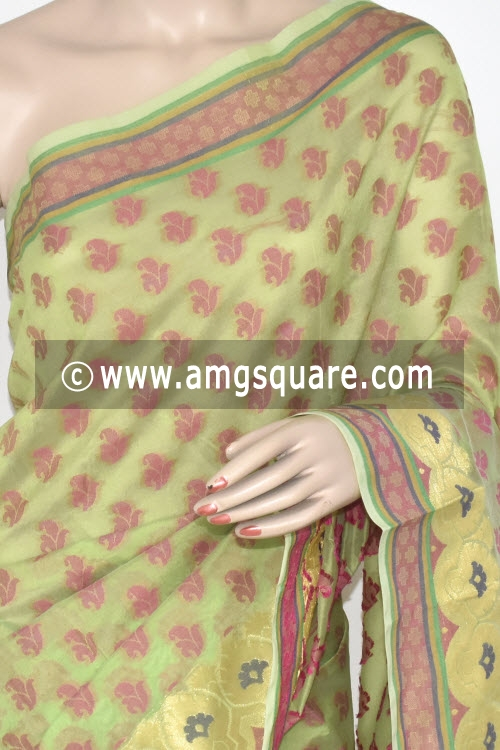 Pista Green Handloom Banarasi Semi Cotton Saree (with Blouse) Allover Resham Weaving 16216