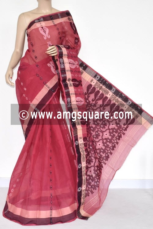 Cherry Handwoven Bengal Tant Cotton Saree (Without Blouse) 14085