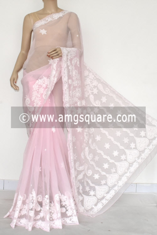 Baby Pink Hand Embroidered Lucknowi Chikankari Saree (With Blouse - Georgette) 14612