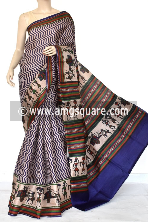 Blue Tusser Art Silk Printed Saree (With Blouse) 13454