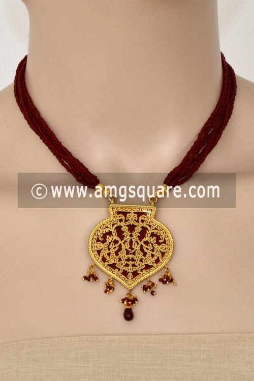 Maroon Traditional Thewa Pendant Set 11236
