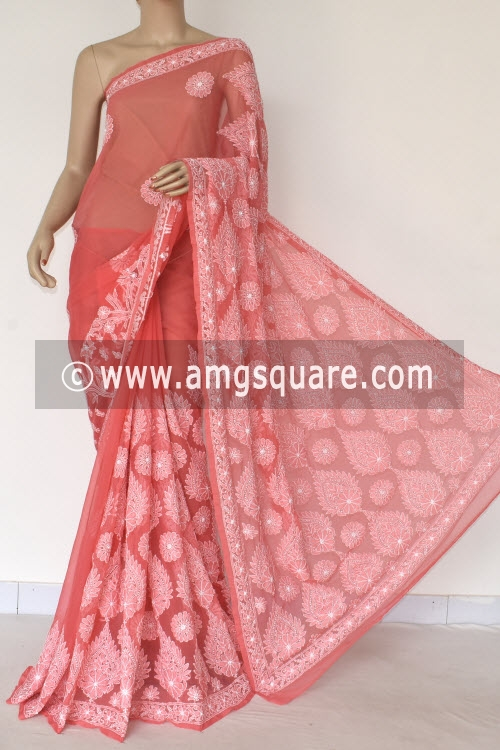 Peach Hand Embroidered Lucknowi Chikankari Saree (With Blouse - Georgette) 14570