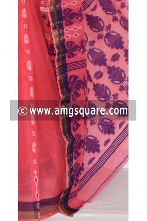 Peach Handwoven Bengal Tant Cotton Saree (Without Blouse) 14073