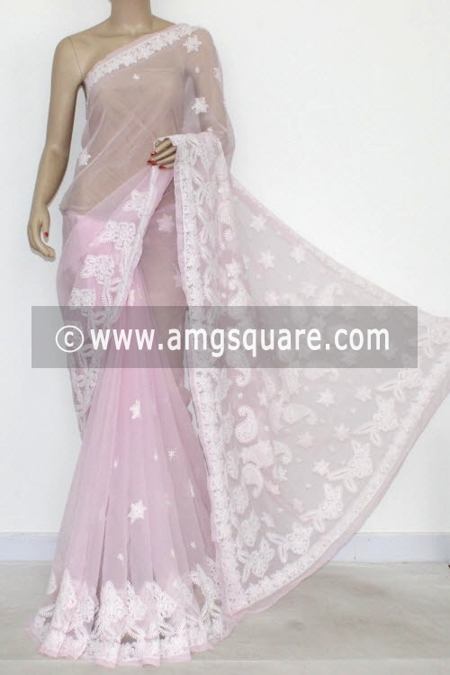 Baby Pink Designer Hand Embroidered Lucknowi Chikankari Saree (With Blouse - Georgette) 14417