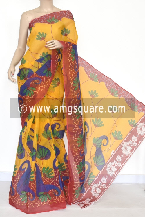 Yellow Red Premium JP Kota Doria Printed Cotton Saree (without Blouse) 15339