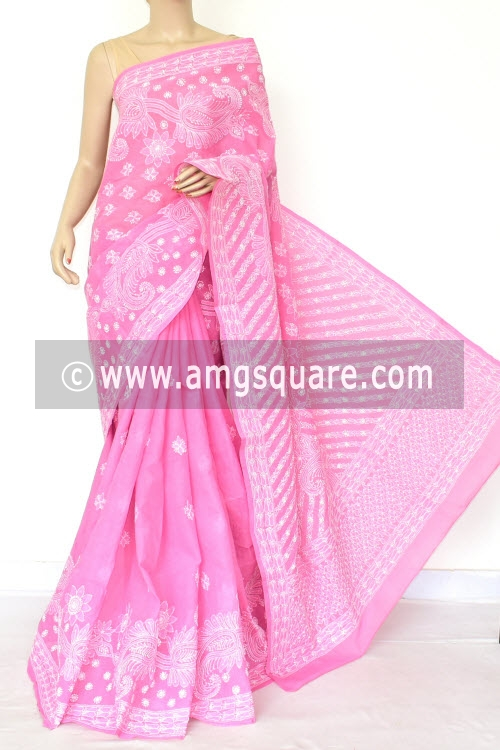 Onion Hand Embroidered Lucknowi Chikankari Saree (With Blouse - Cotton) Rich Border and Pallu 14775