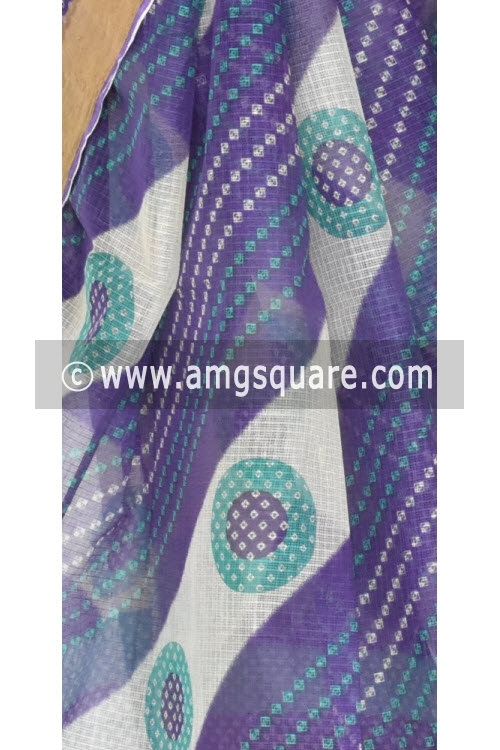 Purple Laheria JP Kota Doria Chunri Print Cotton Saree (without Blouse) Zari Border 15354