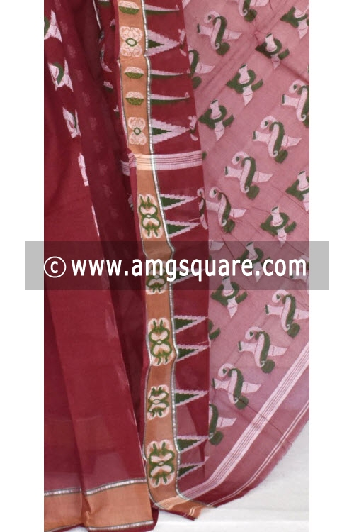 Maroon Handwoven Bengali Tant Cotton Saree (Without Blouse) 14045