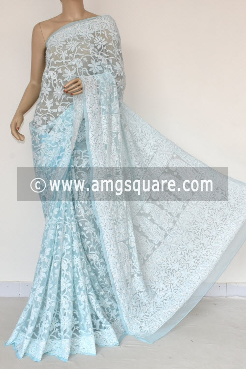 Sky Blue Allover Hand Embroidered Lucknowi Chikankari Saree (With Blouse - Georgette) 14846